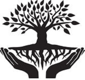 1210633-Clipart-Of-A-Black-And-White-Tree-With-Roots-And-Uplifted-Hands-Royalty-Free-Vector-Illustration